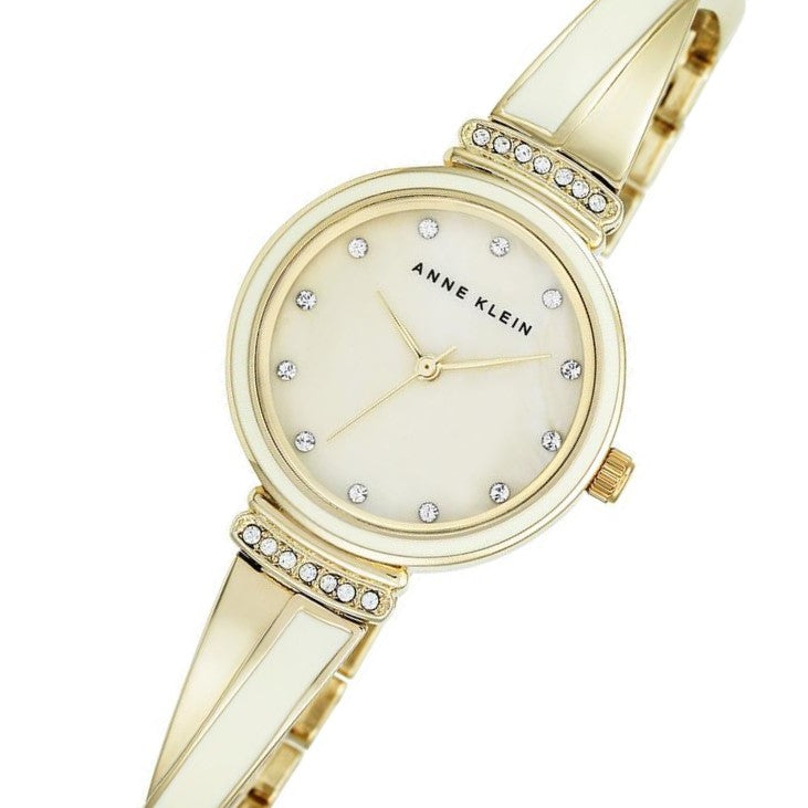 Anne Klein Swarovski Crystal Accents Gold Bangle Ladies Watch - AK2216IVGB