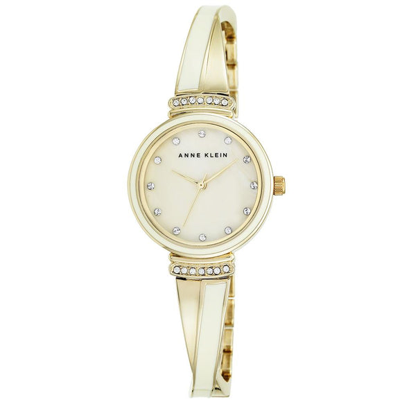 Anne Klein Swarovski Cystal Accents Gold Bangle Ladies Watch - AK2216IVGB