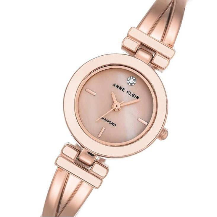 Anne Klein Diamond Rose Gold Bangle Ladies Watch - AK2622LPRG
