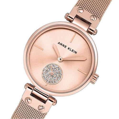 Anne Klein Swarovski Crystal Accents Rose Gold Ladies Watch - AK3000RGRG