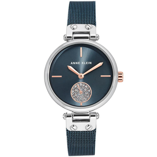 Anne Klein Swarovski Cystal Accents Blue Mesh Ladies Watch - AK3001BLRT