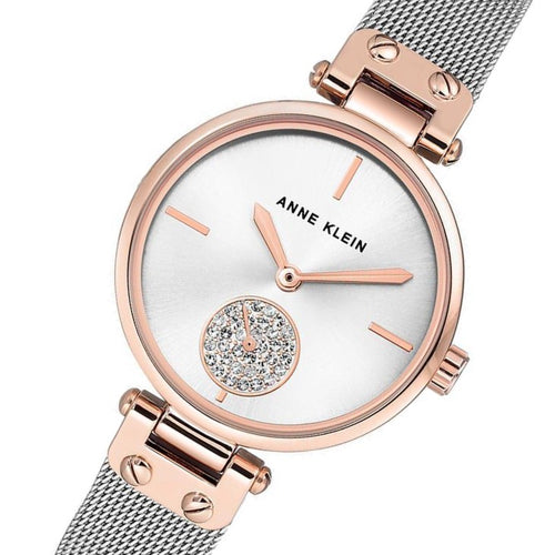 Anne Klein Swarovski Rose Gold Mesh Ladies Watch - AK3001SVRT