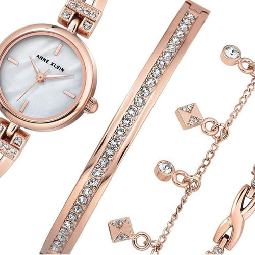 Anne Klein Rose Gold Ladies Watch & Bracelet Set - AK3082RGST