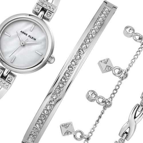 Anne Klein Swarovski Ladies Watch & Bracelet Set  - AK3083SVST