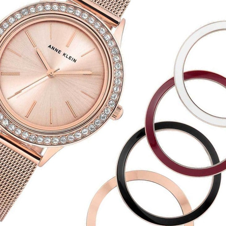 Anne Klein Rose Gold Ladies Watch & Bracelet Set - AK3166INST