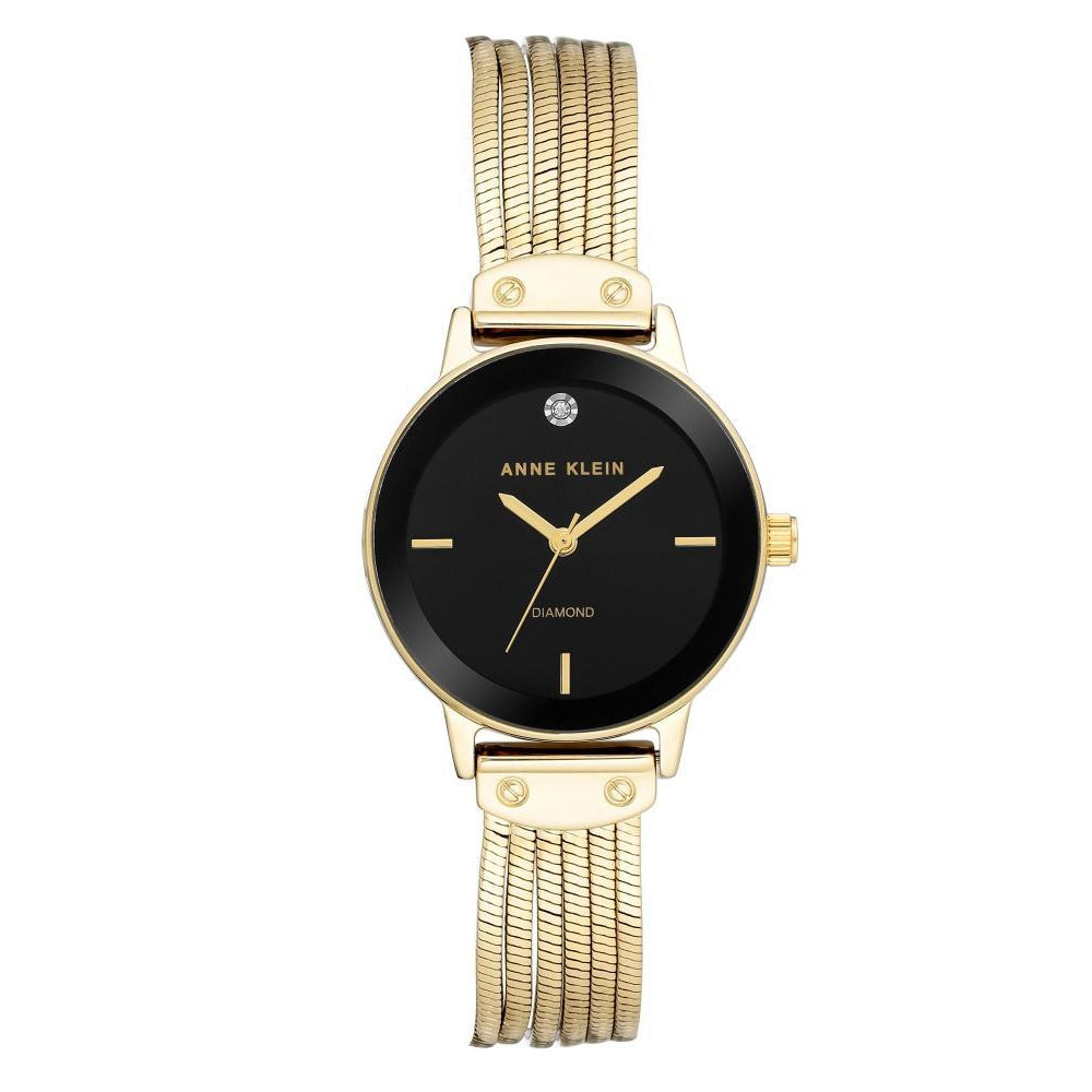 Anne Klein Gold Strap Ladies Watch - AK3220BKGB