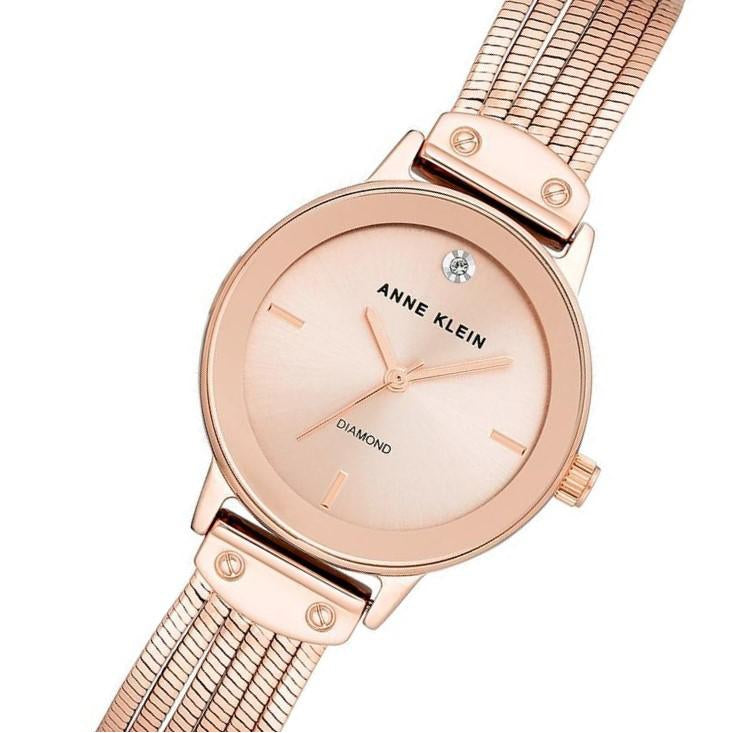Anne Klein Rose Gold Strap Ladies Watch - AK3220RGRG