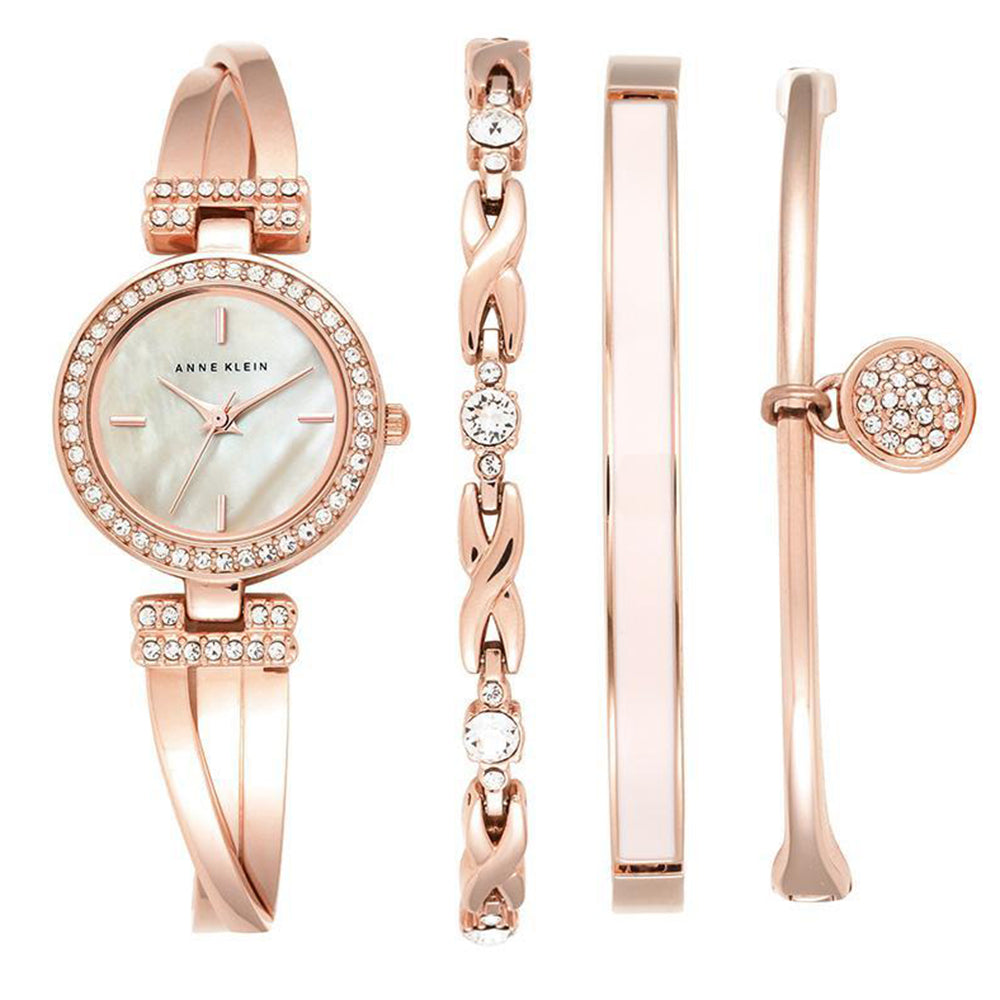 Anne Klein Ladies Rose Gold Watch & Bracelet Set - AK2238RGST