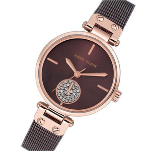 Anne Klein Swarovski Crystal Accents Mesh Ladies Watch - AK3001RGBN