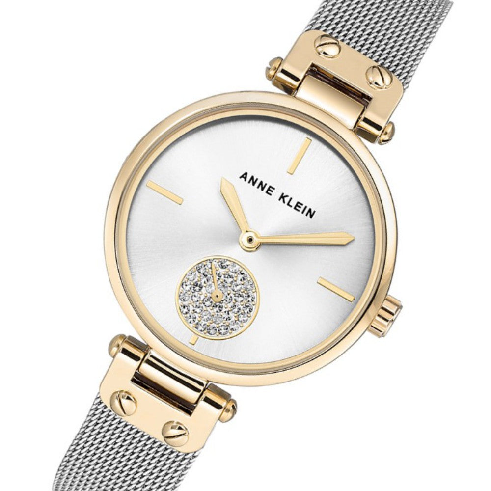 Anne Klein Swarovski Crystal Accents Mesh Ladies Watch - AK3001SVTT