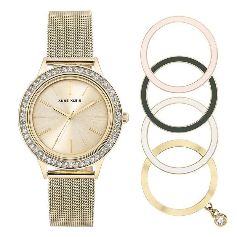 Anne Klein Gold Ladies Watch & Bracelet Set - AK3166GPST