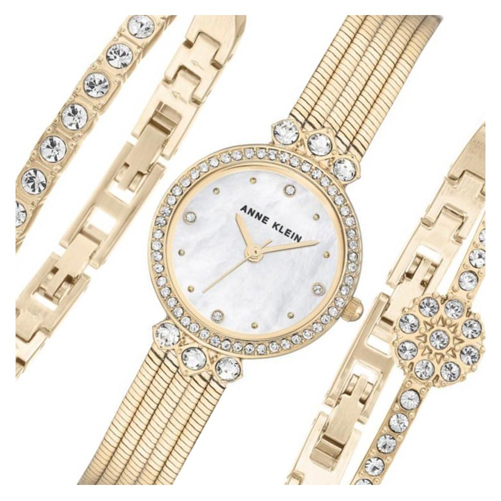 Anne Klein Swarovski Crystal Accents Ladies Watch & Bracelet Set - AK3202GBST
