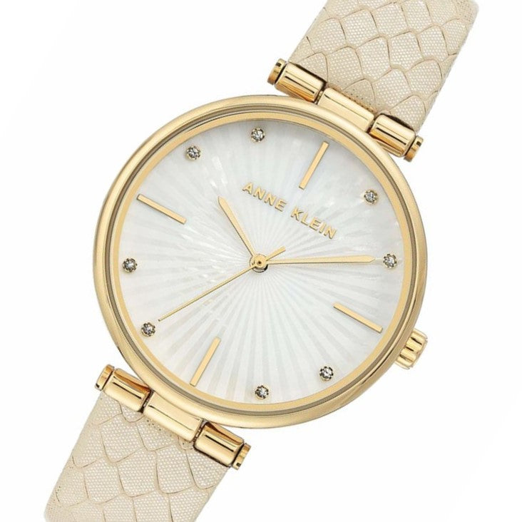 Anne Klein Beige Leather Women's Watch - AK3754MPCR
