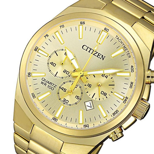 Citizen Gents Gold Stainless Steel Multi Function Quartz Men's Watch - AN8172-53P