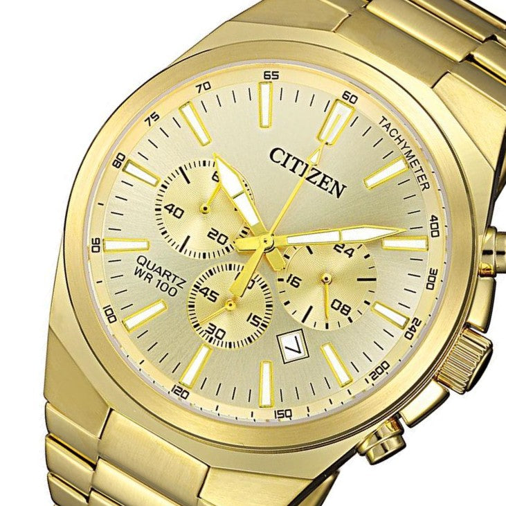 Citizen Gents Gold Stainless Steel Multi Function Quartz Watch - AN8172-53P