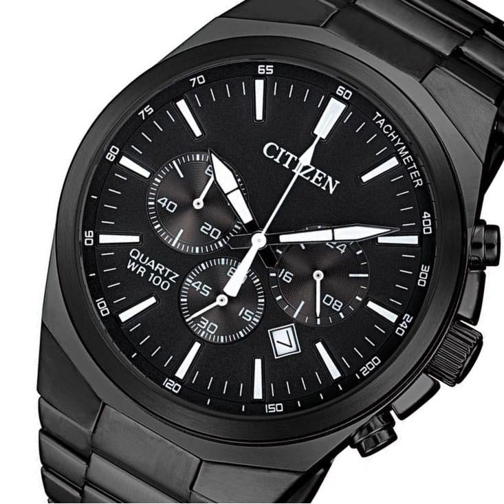 Citizen Gents Black Stainless Steel Multi Function Watch - AN8175-55E