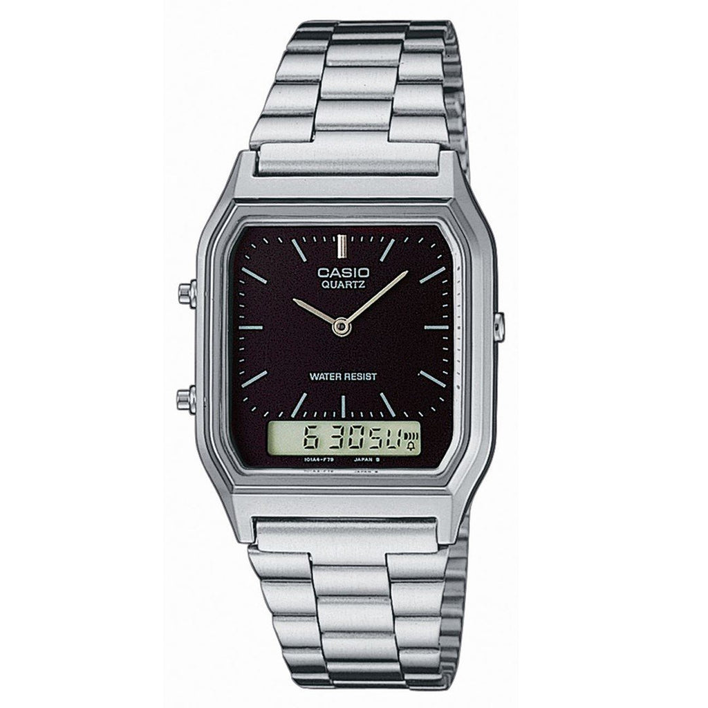 Casio Classic Silver Analogue & Digital Ladies Watch - AQ230A-1DS