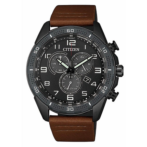 Citizen Brown Leather Men's Eco-Drive Watch - AT2447-01E