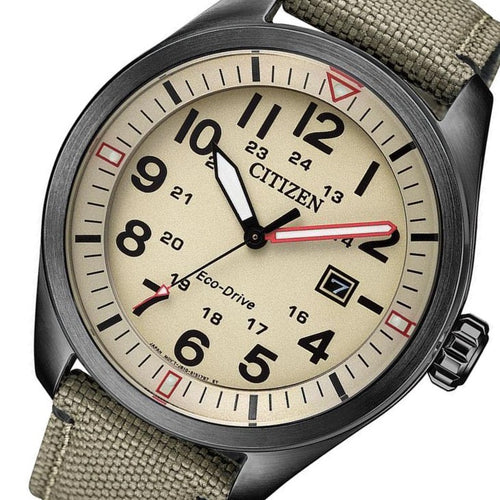 Citizen Gents Beige Eco-Drive Nylon Watch - AW5005-12X