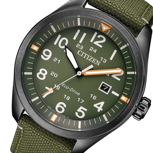 Citizen Gents Eco-Drive Green Nylon Watch - AW5005-21Y