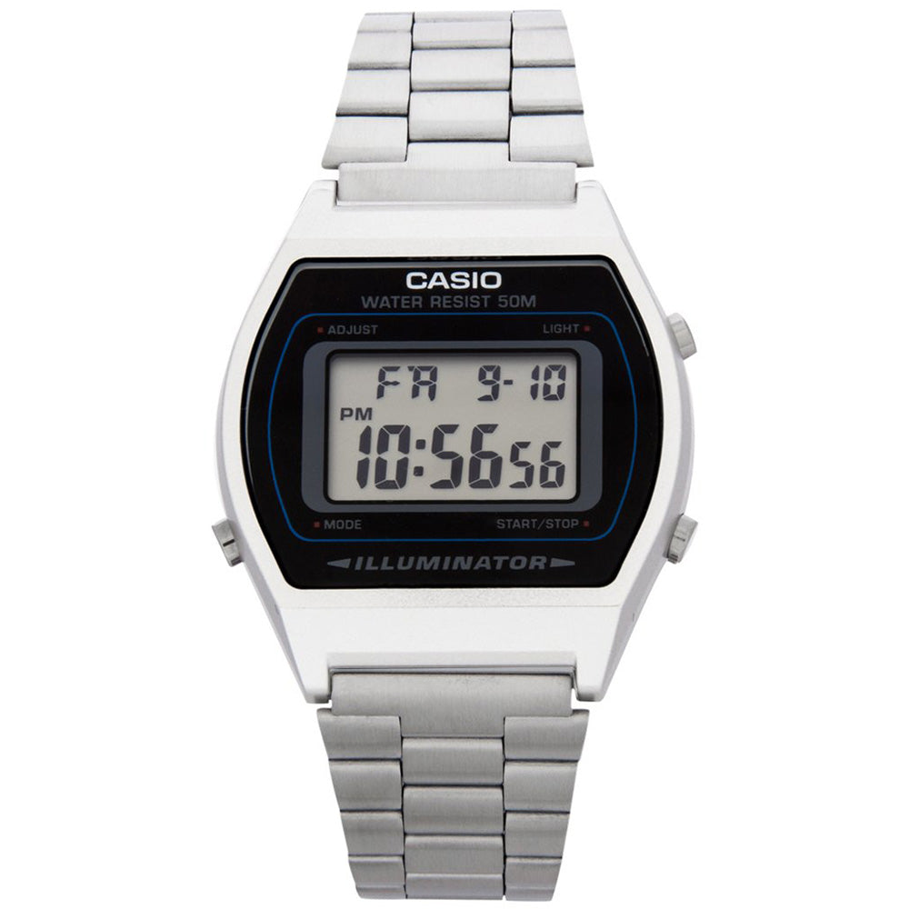 Casio 39mm Retro Men's Silver Digital Watch - B640WD-1A