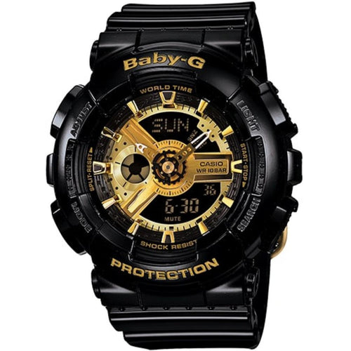 Casio Baby-G Black & Gold Duo Chrono Ladies Watch - BA110-1A