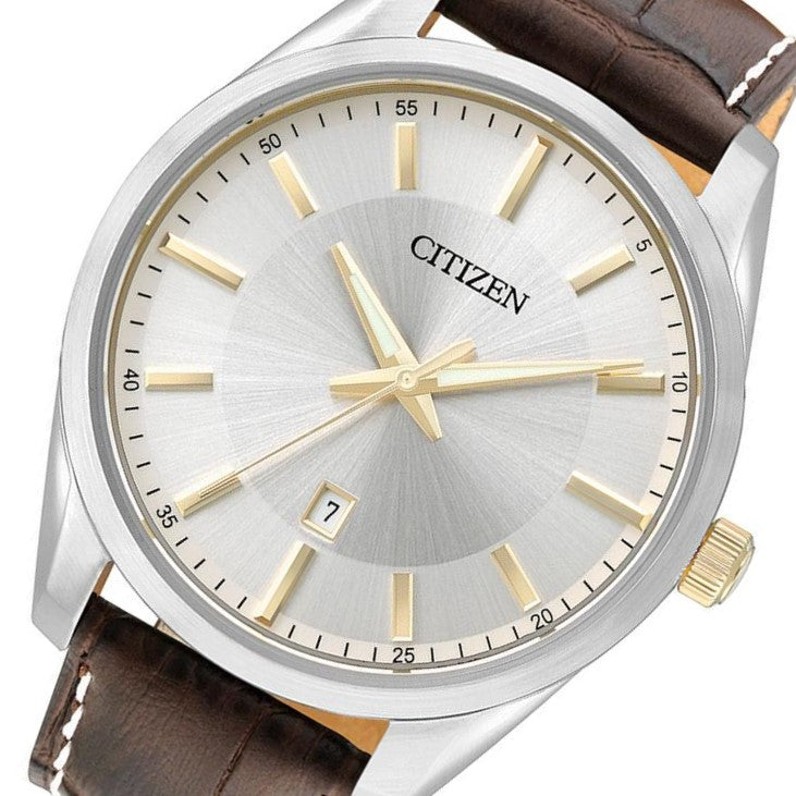 Citizen Gents Brown Leather Quartz Watch - BI1038-01A