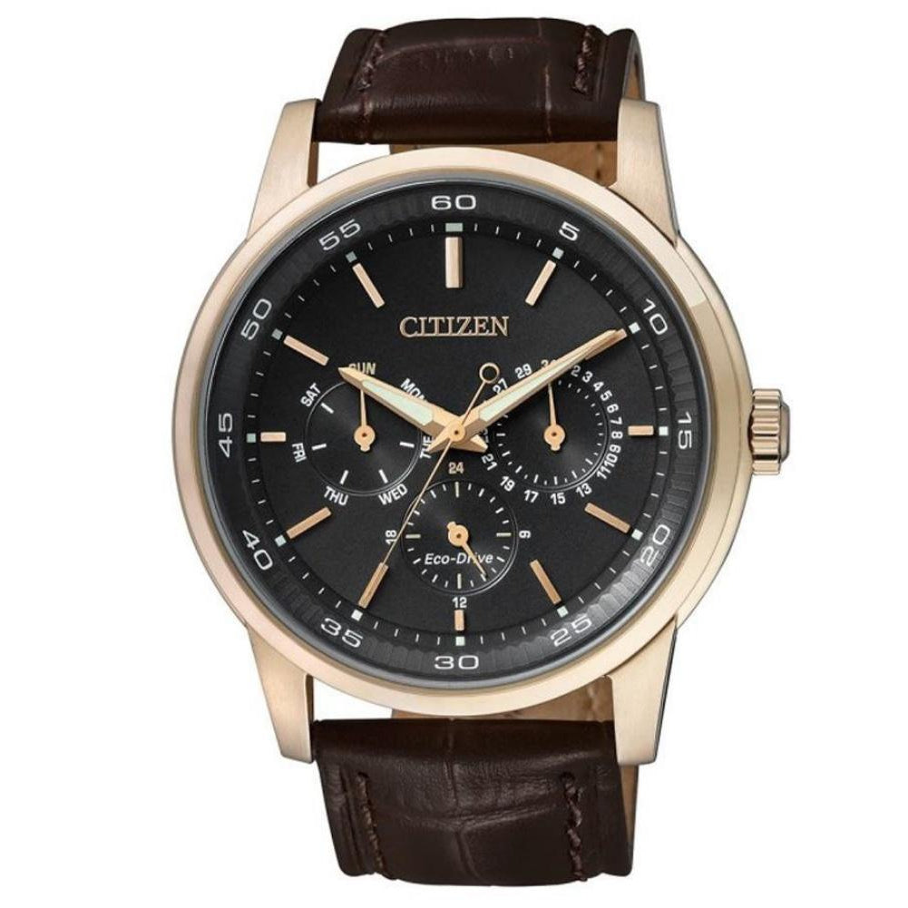 Citizen Gents Sporty Dress Eco-Drive Brown Leather Watch - BU2013-08E