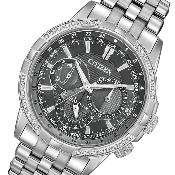 Citizen Gents World Time Eco-Drive Stainless Steel Diamond Watch - BU2080-51H