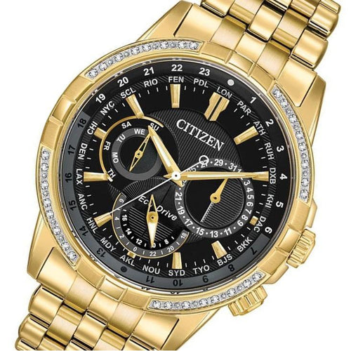 Citizen Gents World Time Eco-Drive Gold Steel Diamond Watch - BU2082-56E