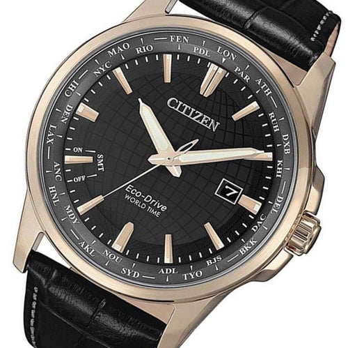 Citizen Black Leather Eco-Drive Men's Watch - BX1008-12E