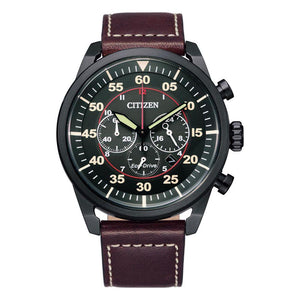 Citizen  Brown Leather Men's Solar Watch - CA4218-14E