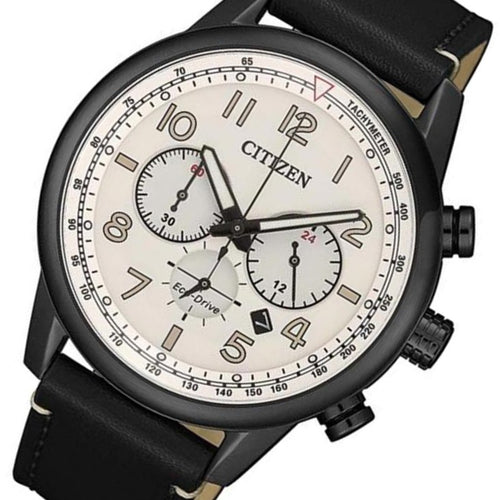 Citizen Black Leather Chrono Eco-Drive Men's Watch - CA4425-10X