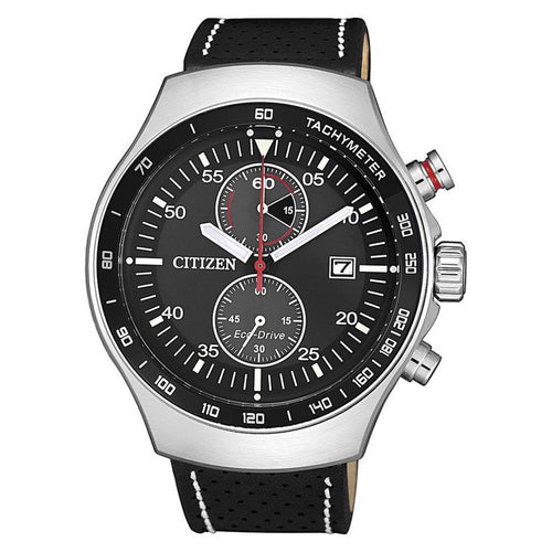 Citizen Black Leather Chrono Eco-Drive Men's Watch - CA7010-19E