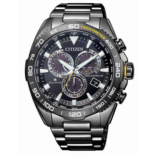 Citizen Promaster Black Steel Men's Eco-Drive Watch - CB5037-84E