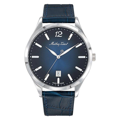 Mathey-Tissot Urban Leather Blue Dial Women's Swiss Made Watch - D411ABU
