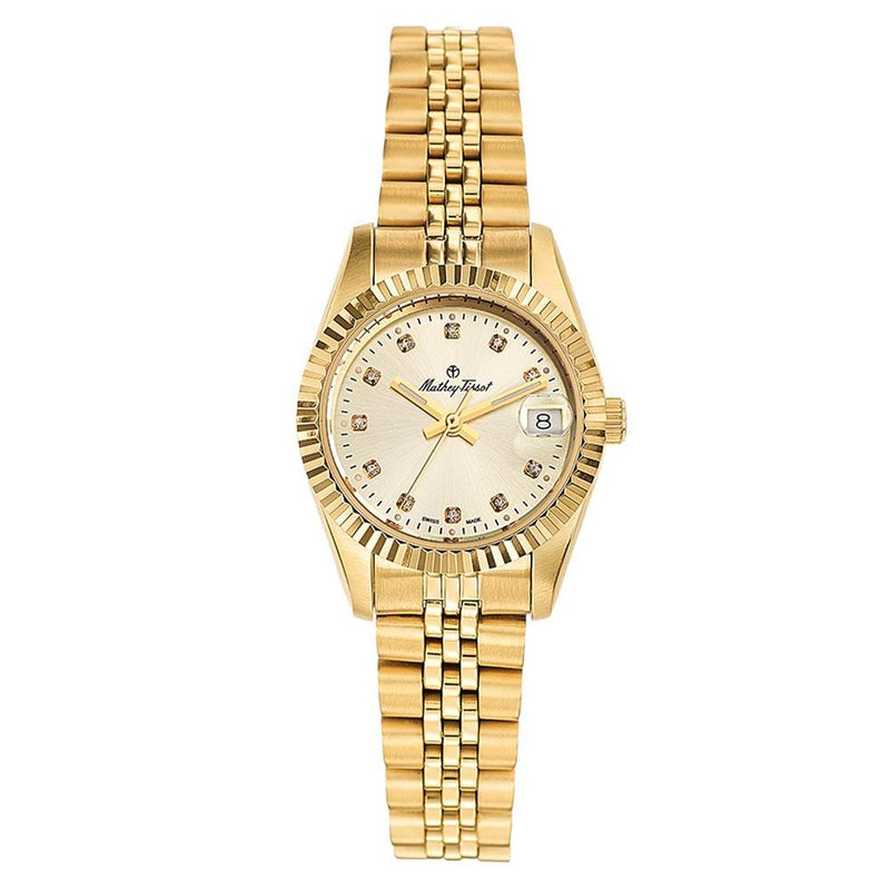 Mathey-Tissot Mathy II Stainless Steel Yellow Dial Women's Swiss Made Watch - D710PDI