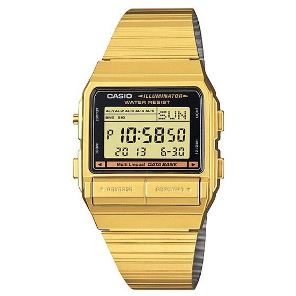 Casio Data Bank Telememo Gold Stainless Steel Watch - DB380G-1DF