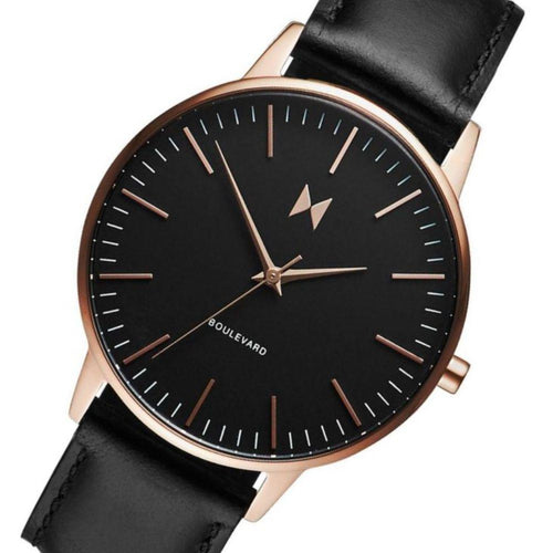 MVMT Boulevard Black Leather Ladies Slim Watch - DMB01RGBL