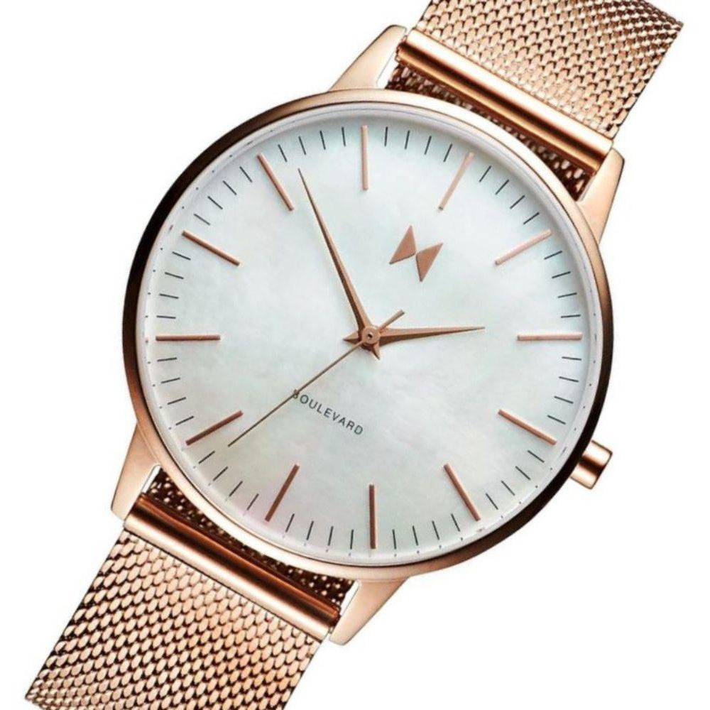 MVMT Boulevard Rose Gold Mesh Ladies Slim Watch - DMB01RGPL