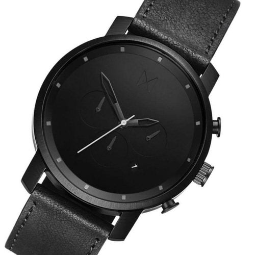 MVMT Chrono Black Leather Men's Watch - DMC01BL