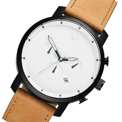 MVMT Chrono Tan Leather Men's Watch - DMC01WBTL