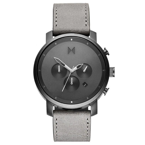 MVMT Chrono Grey Leather Men's Watch - DMC02BBLGR