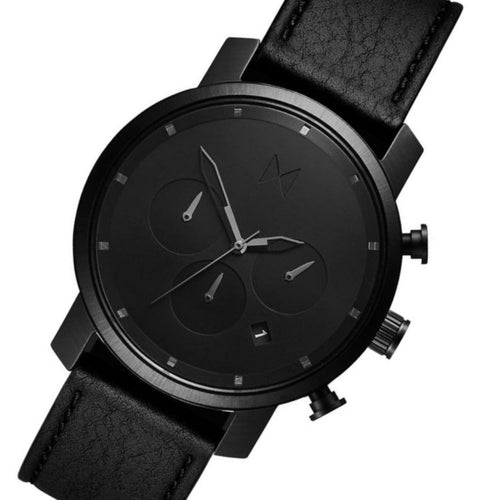 MVMT Chrono 40MM Black Leather Men's Watch - DMC02BLBL