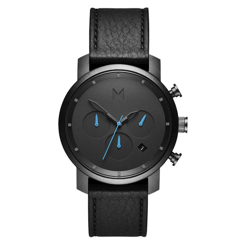 MVMT Chrono 40MM Black Leather Men's Watch - DMC02GUBL