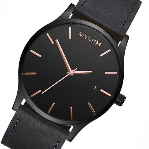 MVMT Classic Black Leather Men's Watch - DMM01BBRGL