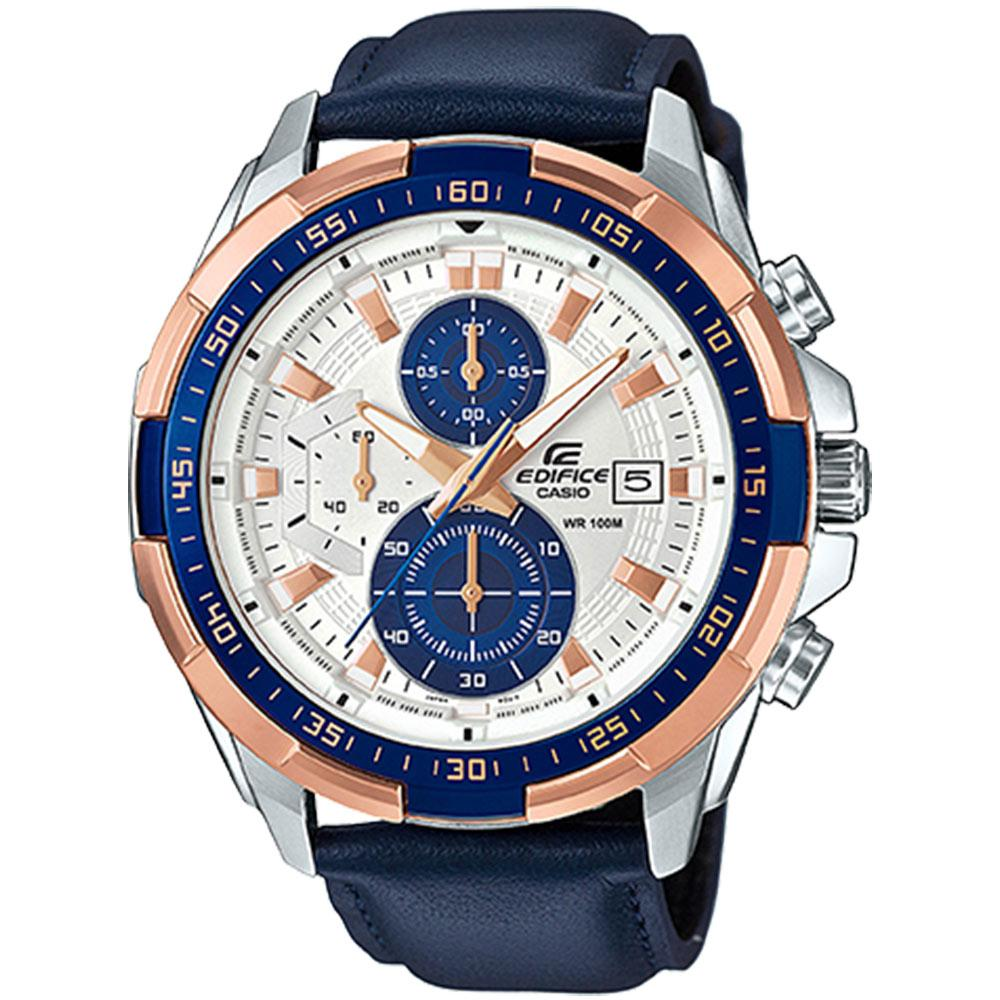 Edifice Navy Leather Chronograph Men's Watch - EFR539L-7C
