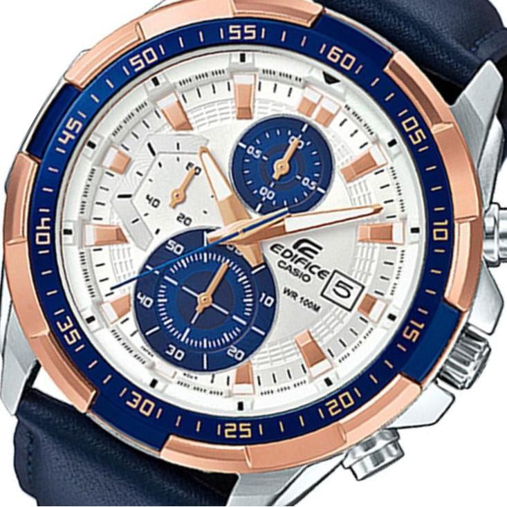 Casio Edifice Navy Leather Multi-functional Men's Chrono Watch - EFR539L-7C