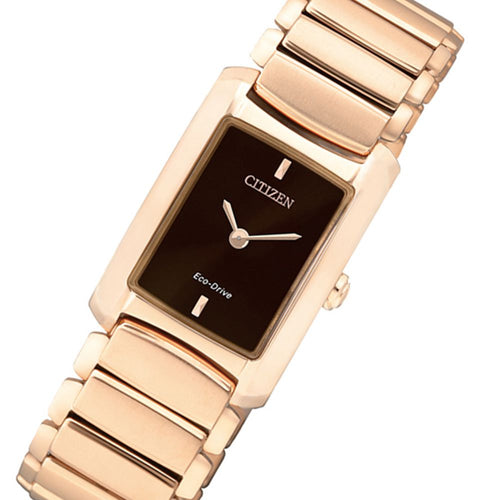 Citizen Rose Gold Steel Bracelet Ladies Eco-Drive Watch - EG2976-57W