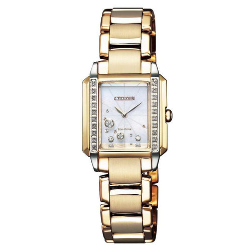 Citizen Diamond Gold Steel Eco-Drive Women's Watch - EG7069-81D
